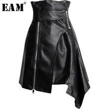 [EAM] Новинка года; сезон весна-лето; юбка из искусственной кожи с завышенной талией и поясом; необычная юбка средней длины; Женская мода; JY506