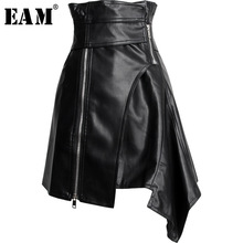 [EAM] 2020 New Spring Summer PU Leather High Waist Sashes Spliced Irregular Half body Temperament Skirt Women Fashion JY506