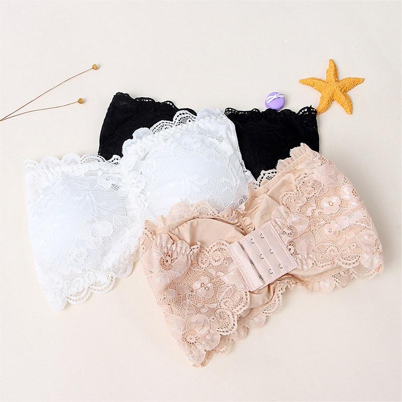 2019 Newly Hot Sexy Summer Women Strapless Bra Lace Tube Top Bandeau Crop Tank Seamless Padded Underwear SMA66 in Tube Tops from Underwear Sleepwears