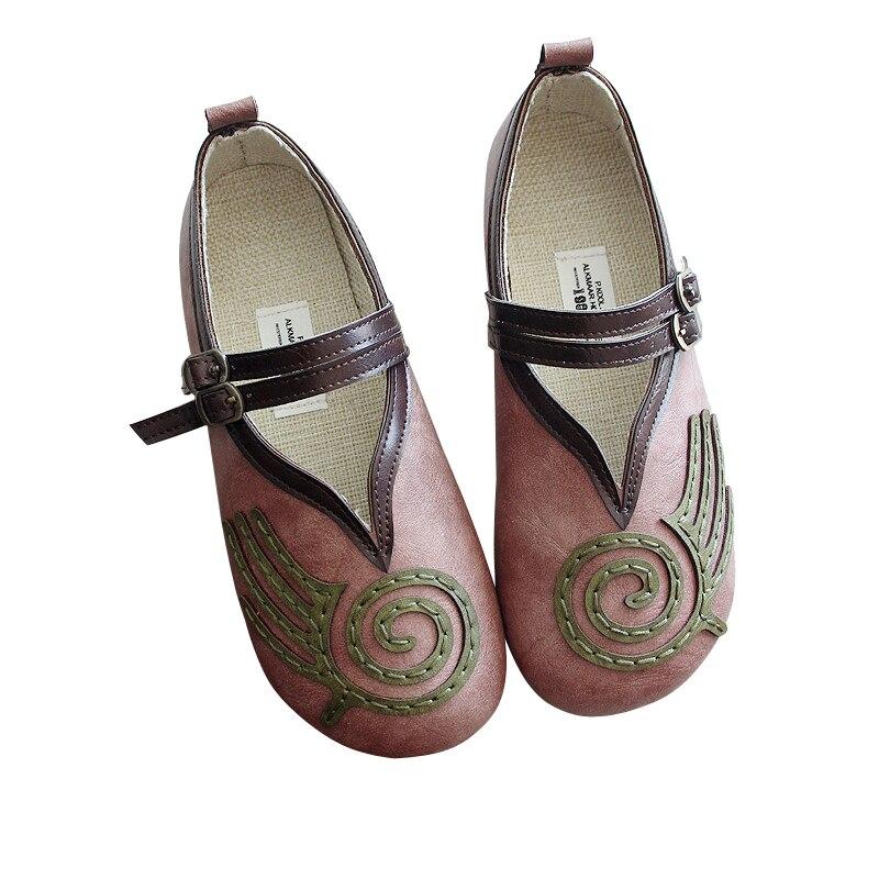 Femmes Plat De rose Version Chaussures chocolat Coréenne Rond Casual Nouveau Art Département Vert Rétro Le wS8HxqnPf