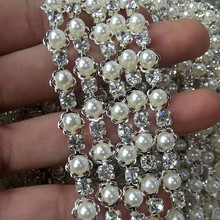 2yds Silver Metal Base Rhinestone Crystal Cup Chain with Pearls Bead Crystal Chain for Clothes Bags Diy Wedding Dress Decoration