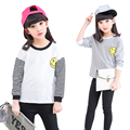 Children T-Shirts For Girls Clothing Long Sleeve Stripe Girls Tees Cotton Smiling Face Baseball Hoodies Tops 2 4 6 8 10 12 Years