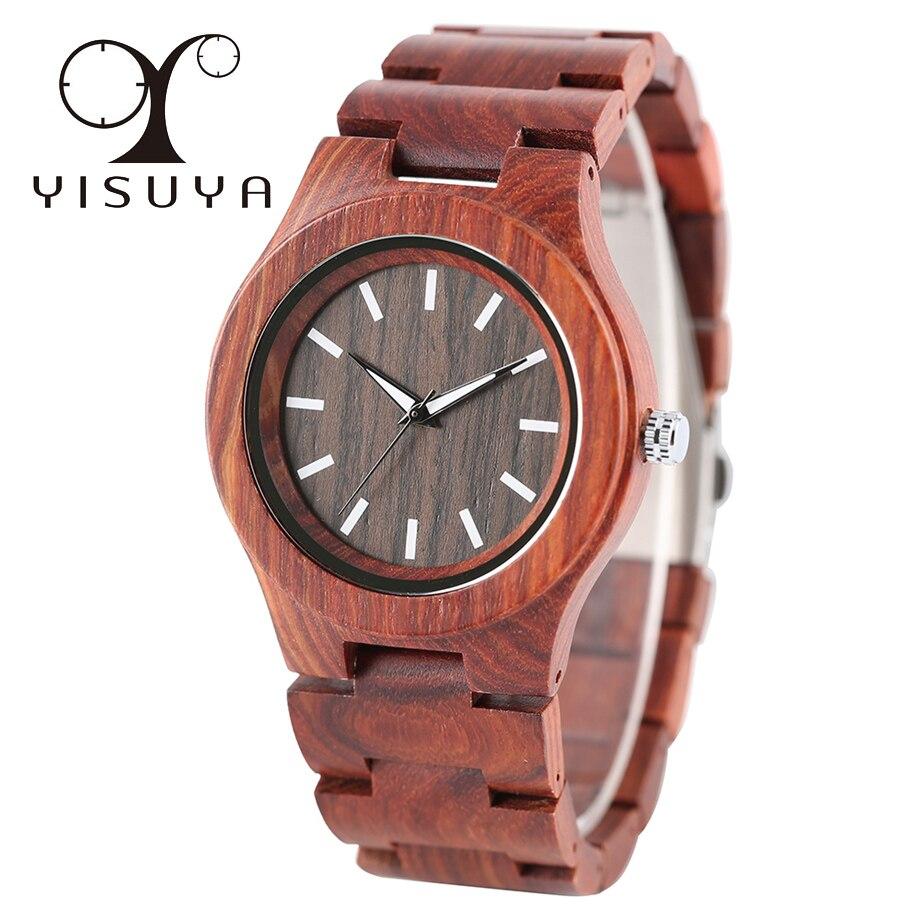 YISUYA Stylish Full Wood Quartz Watch Men Novel Wooden Bangle Bracelet Gift
