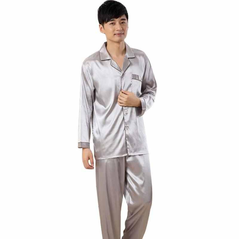 321b84c8857d3 Мягкий шелковый атлас Пижамный комплект для мужчин осень зима пижамы  Мужская пижама халаты Ночная Одежда Мягкий