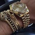 Homens de Marcas famosas Pulseiras, 6mm Pave Definir CZ Preto Beads & 24 K ouro 4mm Rodada Beads & Trança Macrame Pulseira Para Mulheres Dos Homens