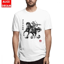 Mens O-neck Wild Hunter Sumi-e T-shirt Retro Stylish Camiseta Crewneck The legend of zelda  T shirt Link Tees