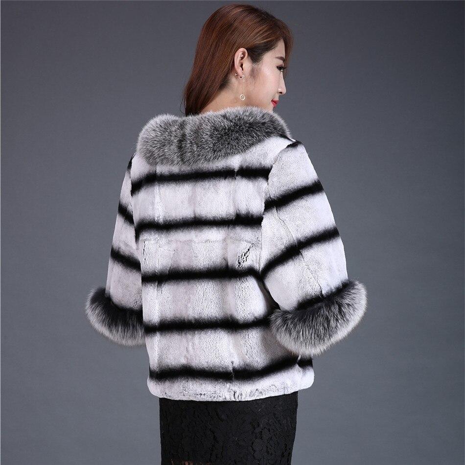 Las De Grey Chinchilla Frost Piel Chaqueta Fox Rex Gris Boda Abrigo Conejo Chaquetas Poncho Collar Chal Esposas Negro RwpaxUtqw