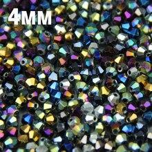 JHNBY-perles amples, cristaux Bicone autrichiens, placage de couleur surface, fabrication de bracelets, colliers, bricolage, 4mm, 100 pièces