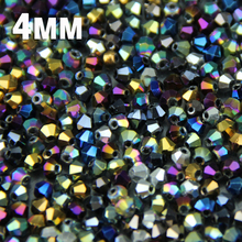 JHNBY 4mm 100pcs Bicone Austrian crystals loose beads ball supply surface color plating ,bracelet necklace Jewelry Making DIY