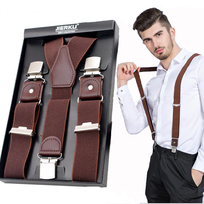 Genuine Leather Suspenders Man's Braces 3Clips Suspensorio Fashion Trousers Strap Father/Husband's Gift 3.5*120cm JK3C02