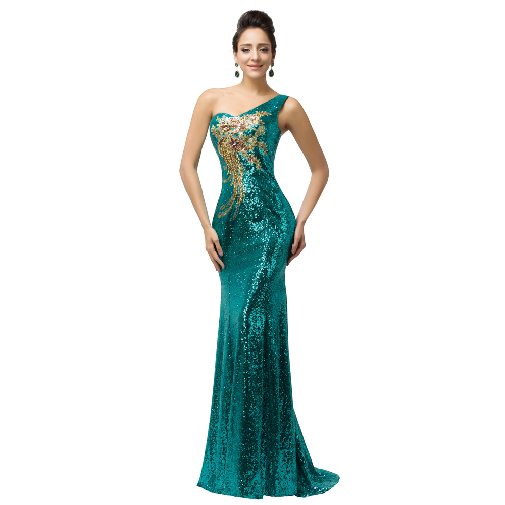 Teal Sequined Prom Dress