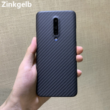 Para oneplus 7 pro caso capa de luxo fino real duro fosco fibra carbono à prova choque volta capa do telefone para um plus 7 pro funda