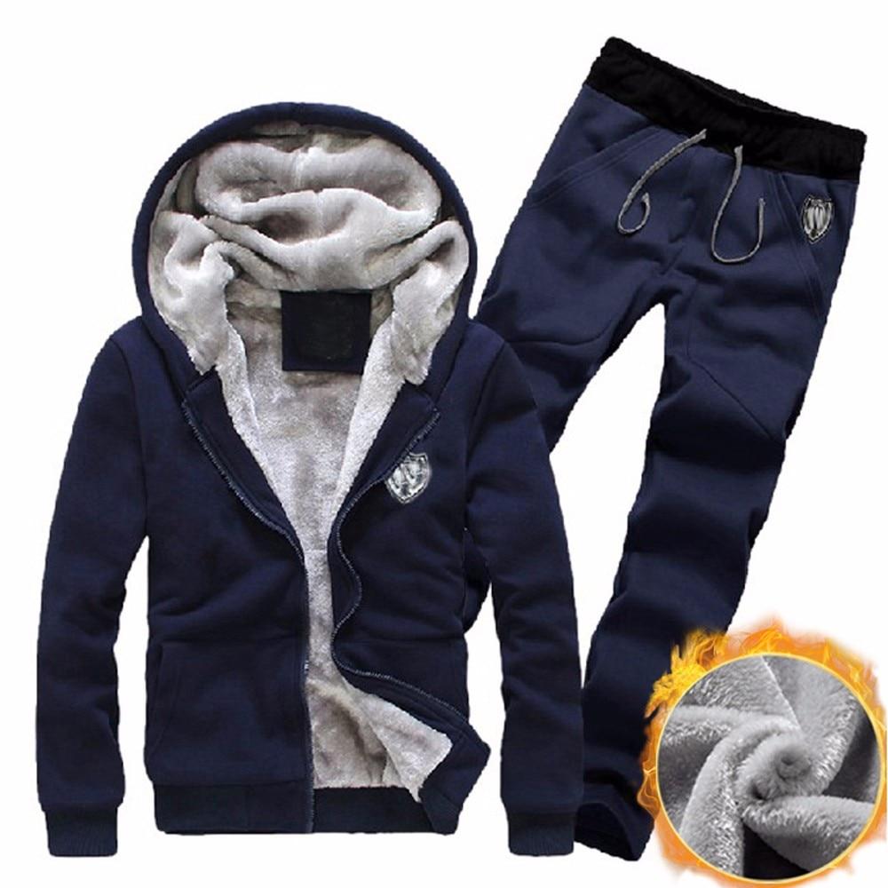 New Style Mens Sweatshirt Tracksuit Set Warm Fleece Hooded Sweatshirt Coat Hoodies Pants Sweat Tracksuit Wolovey#20
