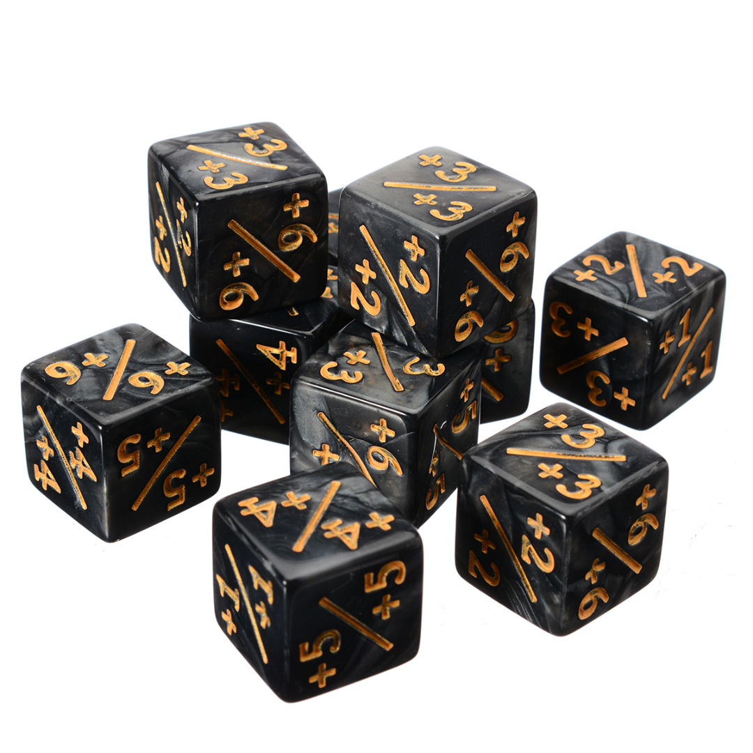 10Pcs White Black 14mm 6 Side Dice Counters +1/-1 Dice Kids Toy Counting Dice For Magic The Gathering Game Counting