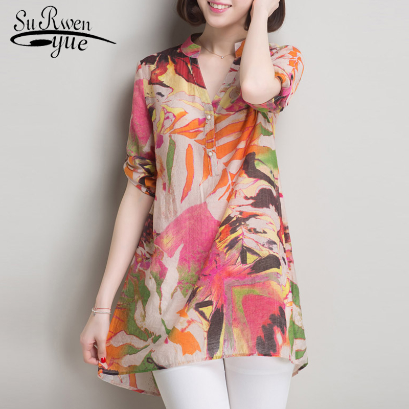 2019 Fashion Summer Print Ladies Tops Blusa Plus Size Women Blouse Shirt Casual V -neck Blouse Women Shirt Female Tops 0199 40