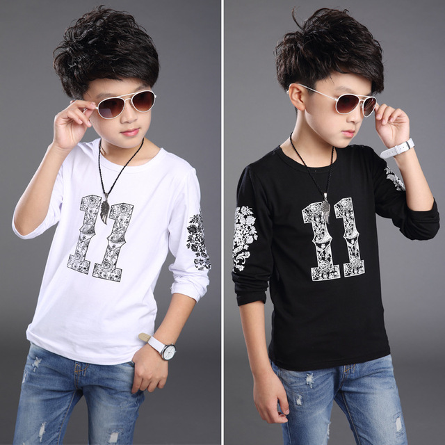 2016 Nova Primavera 100% Algodão Meninos Crianças Camisetas, Meninos Casuais Roupas, Meninos de Manga Longa Top T, Crianças roupas, Altura 110-160 cm