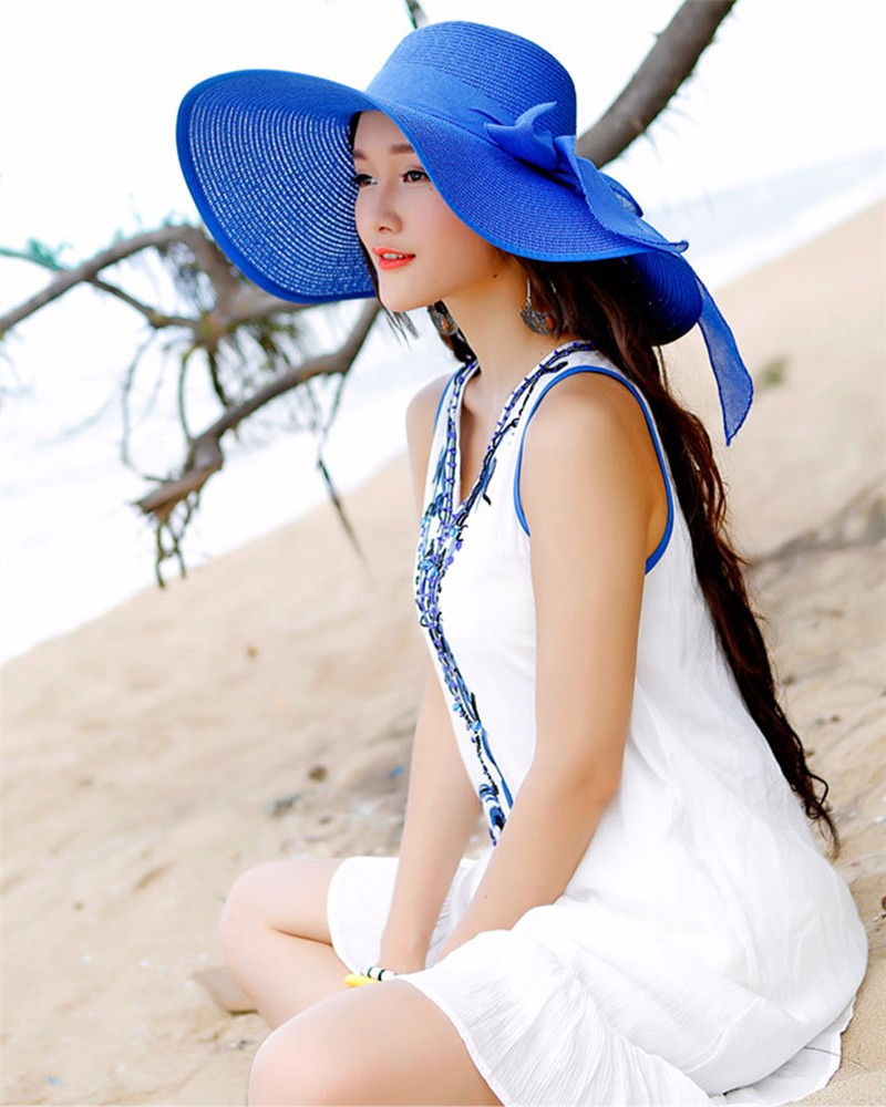 Hot Sale Summer Sun Hats For Women Large Brim With Ribbons Bow Beach Hat Cap Ladies Sun Hat UV Protect Chapeu Feminino 6