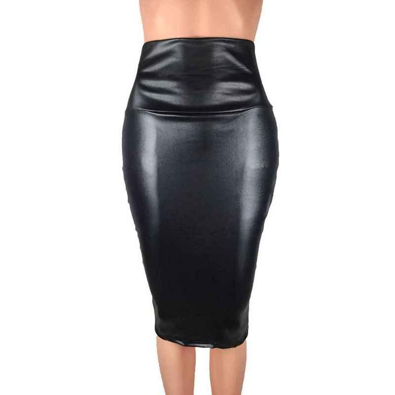 2019 femmes automne hiver Faux cuir jupe taille haute paquet hanche genou longueur Split jupe bureau dames Slim jupe grande taille