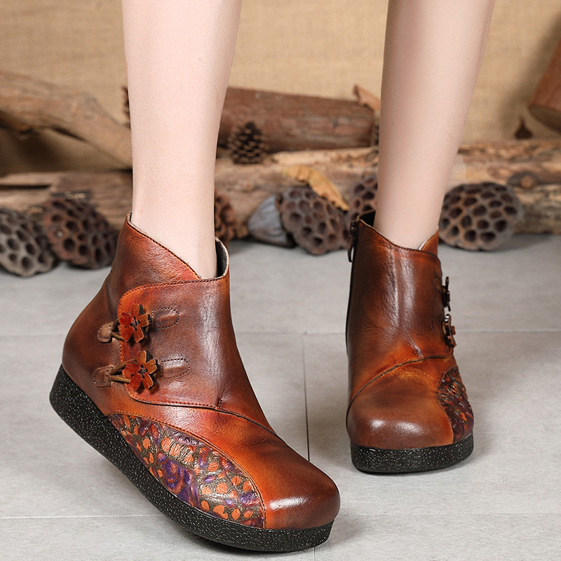 Women Genuine Leather Ankle Boots Embroidery Low Heels Winter Shoes Women Retro Knight Boots For Women Leather Handmade Boots 2016 winter retro china embroidery ankle boots heels chain brand designer genuine leather short booties shoes for women footwear