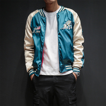 Two Sides Luxury Embroidery Bomber Jacket Smooth Men Sukajan Yokosuka Souvenir Jacket Streetwear Hip Hop Baseball Jacket 1