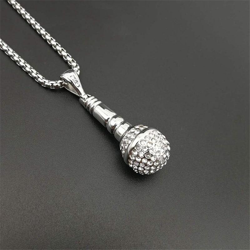Hip Hop Music Microphone Pendant Necklace