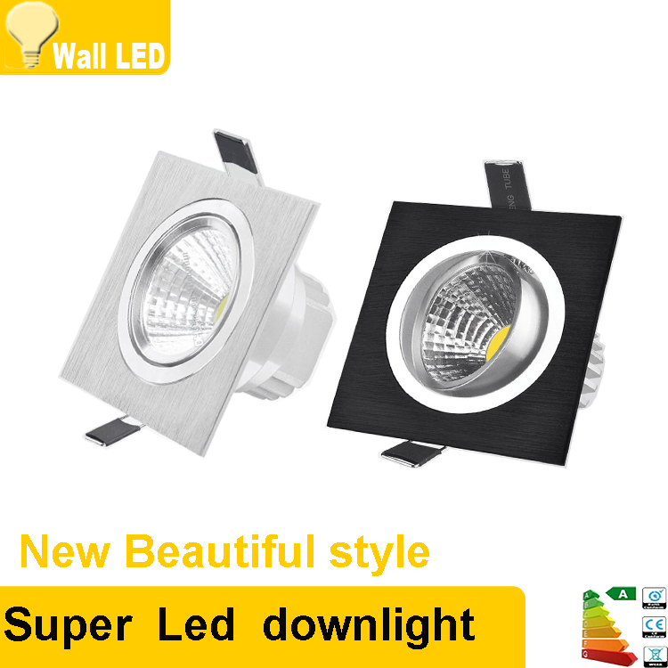 Square Bright Recessed LED Dimmable Square Downlight COB 7W 9W 12W  LED Spot Light Decoration Ceiling Lamp AC 110V 220V