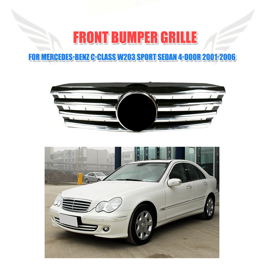 W203 Front Bumper Grille Black Mesh Grill  Fit For Mercedes-Benz C-Class W203 C230 C240 C320  Sport 4-door 2001-2006 With Emblem pp class front car mesh grill sport style fit for benz w203 c 2000 2006