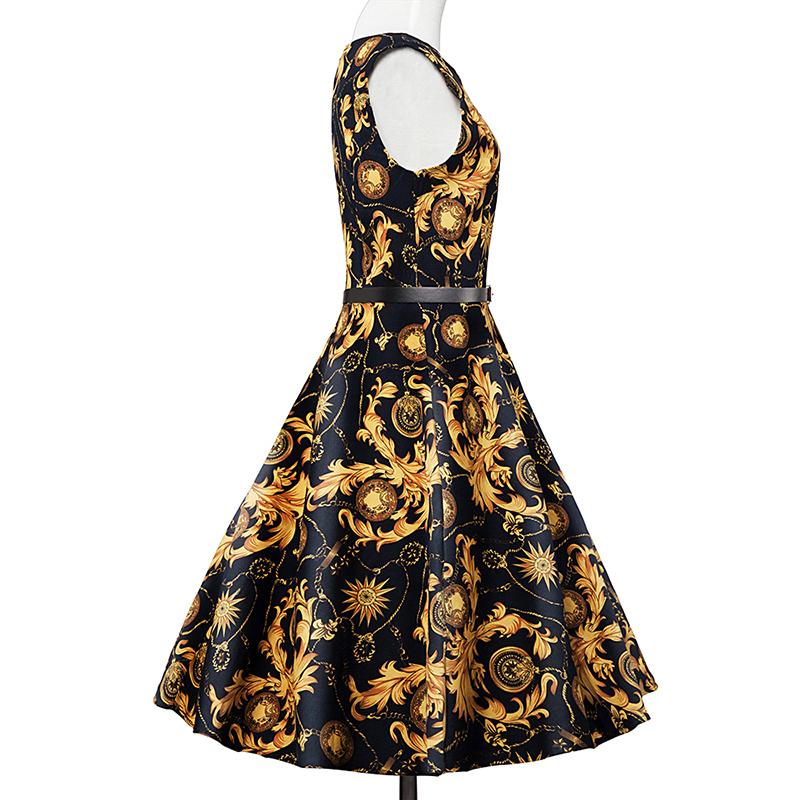 Kostlish Elegant Print Women Summer Dress Sleeveless Cotton Hepburn 50s 60s Vintage Dress With Belt Casual A-Line Ladies Dresses (29)