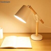 디자이너 테이블 램프 눈 보호 나무 책상 램프 독서 사무실 램프 침실 조명 장식 밤 독서 책상