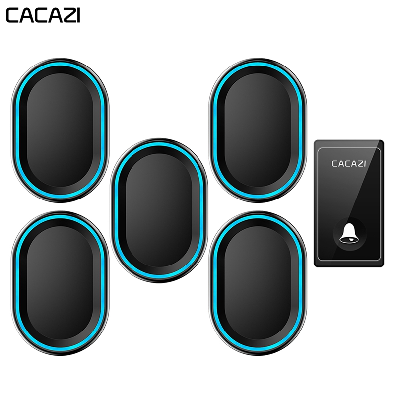 CACAZI Self-powered Wireless Doorbell Waterproof No Battery Required 1 Button 5 Receivers Home Call bell US EU UK Plug 58 ChimesCACAZI Self-powered Wireless Doorbell Waterproof No Battery Required 1 Button 5 Receivers Home Call bell US EU UK Plug 58 Chimes