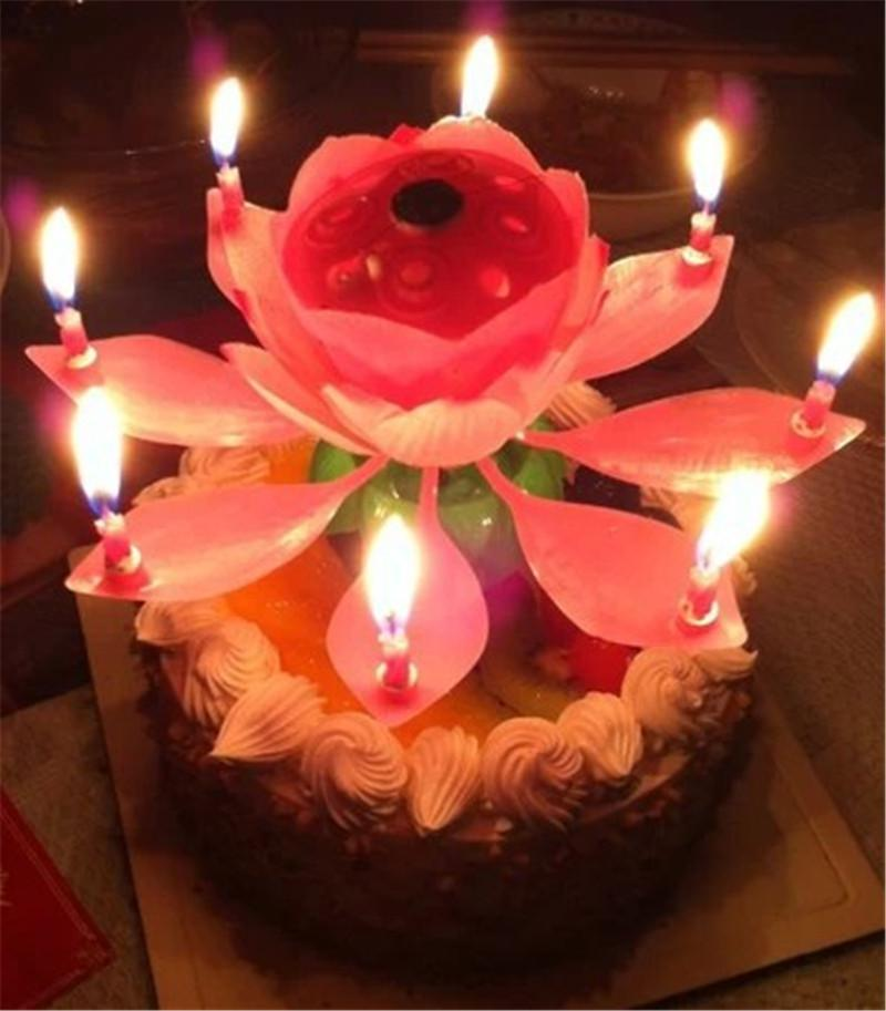 Brief Romantic Musical Candle Lotus Flower Party Gift Art Happy Birthday Lights DIY Cake Decoration For Kids
