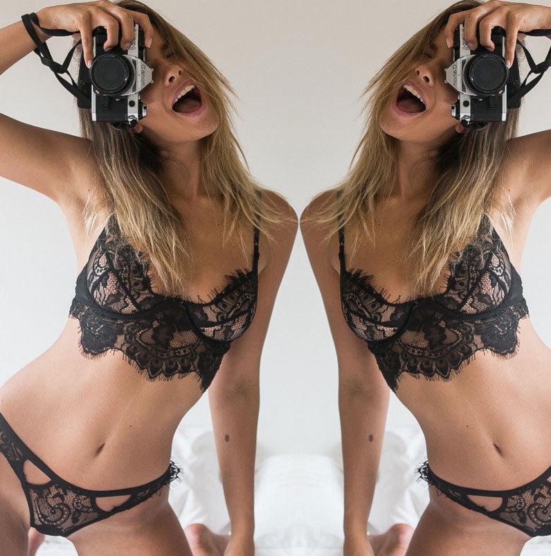 2019 Fashion 1PC Women Lingerie Trim Straps Bra Soft Push Up Top Deep V Back Sexy Lace Bralette Set Transparent Cup Beauty Decor