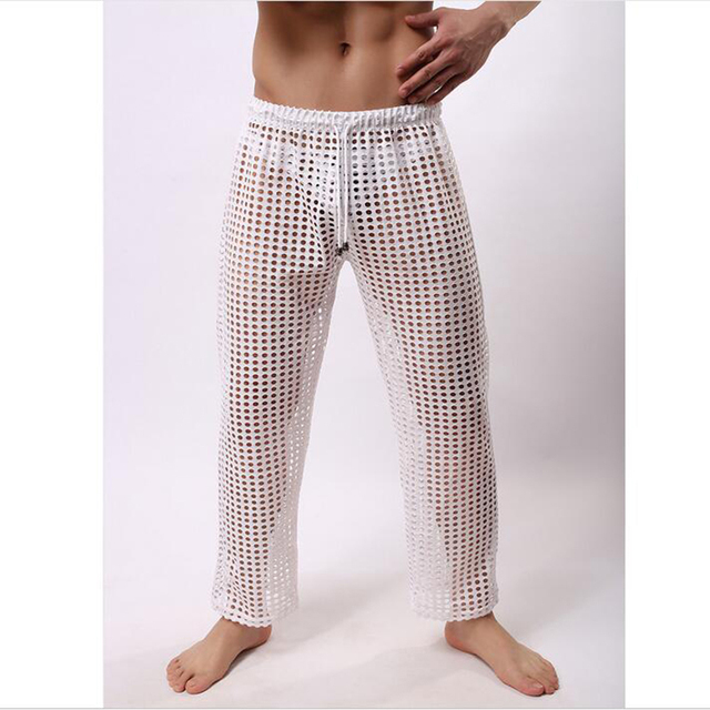 KWAN.Z Men's Pajamas Bathrobes mens sexy sleepwear brand-clothing Casual Home wear hollow Nets Sexy mens sheer pajamas Celos