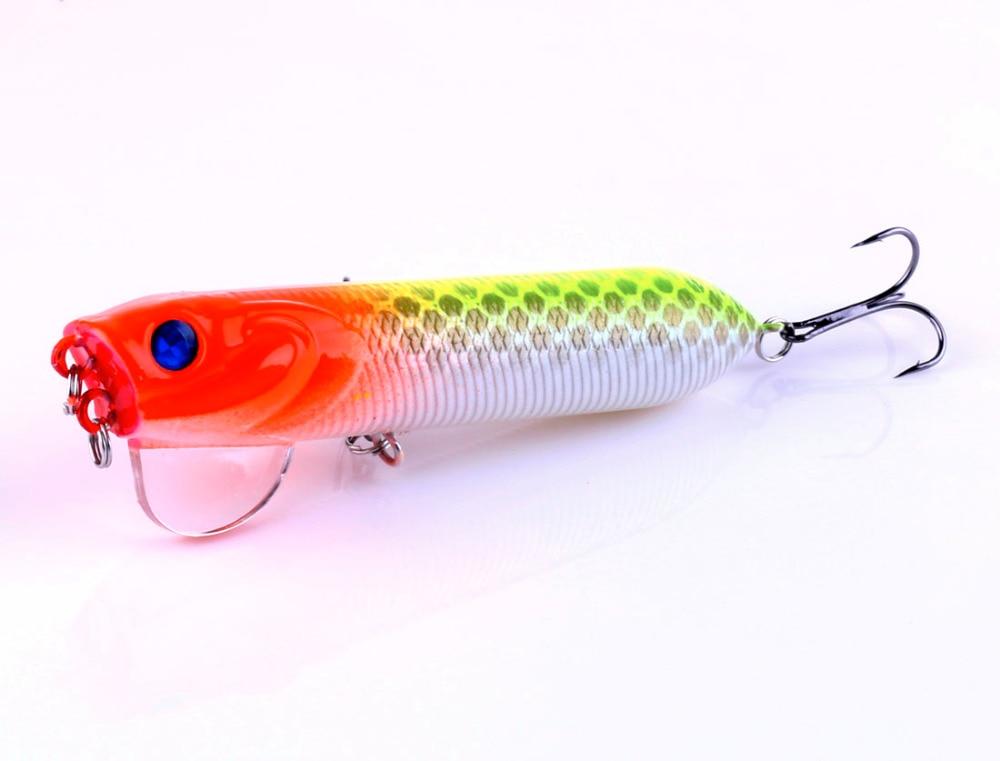 HENGJIA 8PC 9.5cm 16.5g Popper fishing Lure Tube Shape pesca Wobblers Crankbait isca artificial 3D Eye Floating Fishing Bait