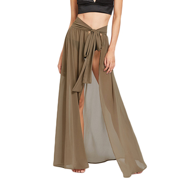 High Slit Maxi Skirt Women Tie Wasit Sexy Wrap Beach Long Skirts 2017 Fashion New Semi Sheer Ladies A Line Skirt