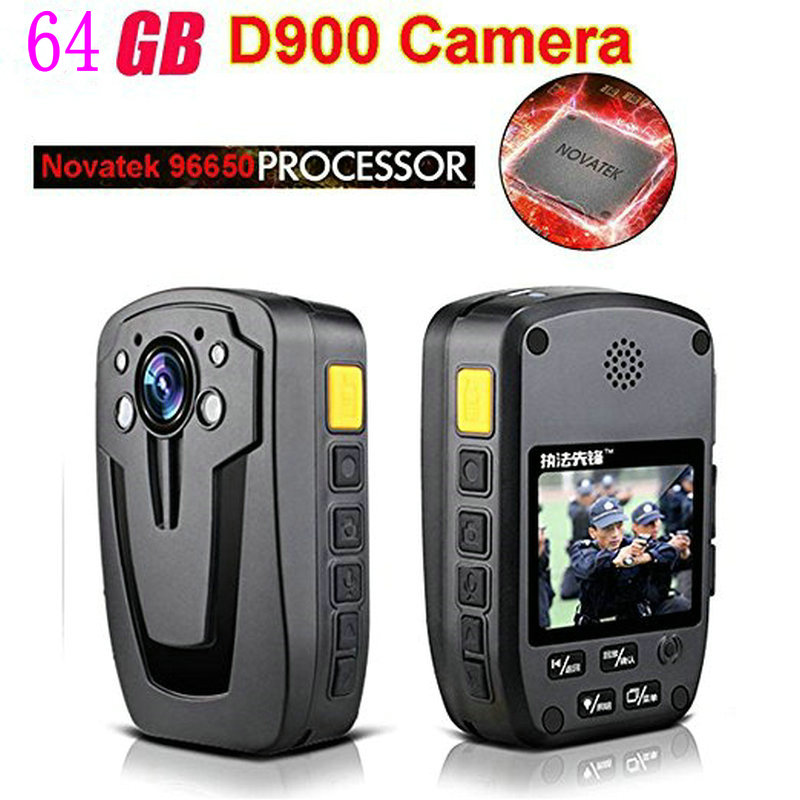 D900 Novatek 96650 64GB Full HD 1080P Police Body Lapel Worn Video Camera Recorder DVR IR Night Cam 6-hour Record Free Shipping free shipping ambarella a2 1080p 30fps hd police camera police body worn camera action body police camera