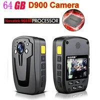 D900 Novatek 96650 64GB Full HD 1080P Police Body Lapel Worn Video Camera Recorder DVR IR Night Cam 6 hour Record Free Shipping