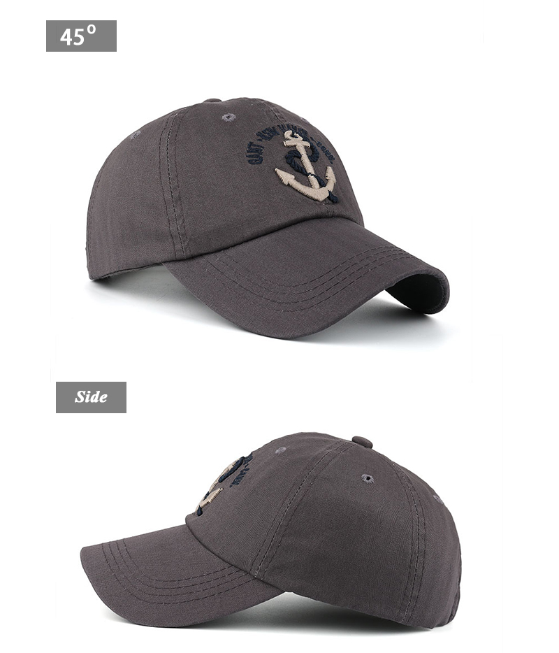 Embroidered Anchor & Rope Baseball Cap - Angle and Side Views
