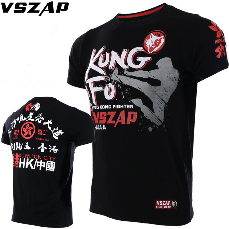 VSZAP Boxing T Shirt Men MMA Gym Kickboxing Muay Thai Boxing Training Cotton Breathable Kong Fo Mma Fighting Shorts