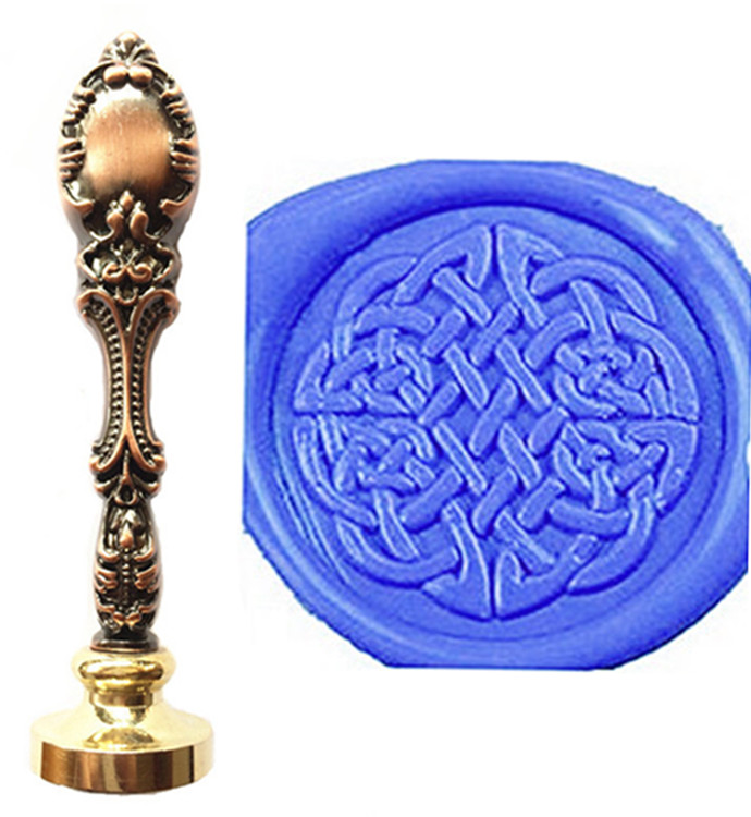 Vintage Decorative Celtic Knot Pattern Custom Picture Logo Luxury Wax Seal Sealing Stamp Brass Peacock Metal Handle Gift Set