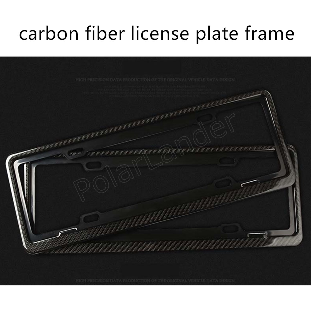 1 pair Front Rear Carbon Fiber License Plate Frame Cover Holder for universal cars 46.5x17cm best price sale