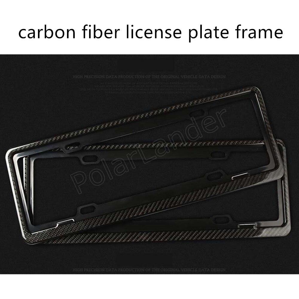 1 paire avant arrière en Fiber de carbone plaque d'immatriculation cadre porte-couvercle pour voitures universelles 46.5x17 cm meilleur prix vente