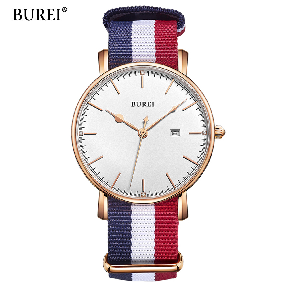 BUREI Mens Watches Top Brand Luxury Clock Date Quartz Casual Sport Watches Canvas Wrist Watch Quartz-Waych relogio masculino 2016fashion top luxury brand unique vogue mens quartz watches wooden outdoor sport watches clock casual wood watch