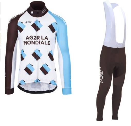 spring autumn 2017 pro team AG2R cycling jerseys long sleeve bike clothing MTB Ropa Ciclismo Bicycle maillot jersey GEL pad