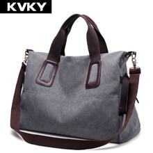KVKY Brand Canvas Women Handbags Casual Large Capacity Female Totes Hobos Solid Shoulder Bag Vintage Women Crossbody Bags Bolsas