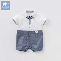 Dave Bella Newborn Little Gentleman Romper Baby Summer With Tie Jumpsuit Infant Toddler High Quality Clothes
