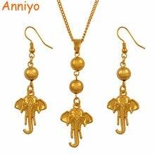 Anniyo Elephant Pendant Necklace Earrings Jewelry Sets Ball Beads Indian Mascot Thai Elephantidae Symbol African #136806