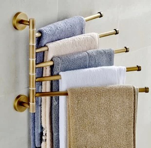 Antique Rotary towel rod Movable The bathroom towel rack 5 bar towel rod Folding Movable Bath Towel Bar BR-88015 european style bathroom towel hanger bronze movable towel rod folding rotary towel rack antique activities towel 2 bar br 88012