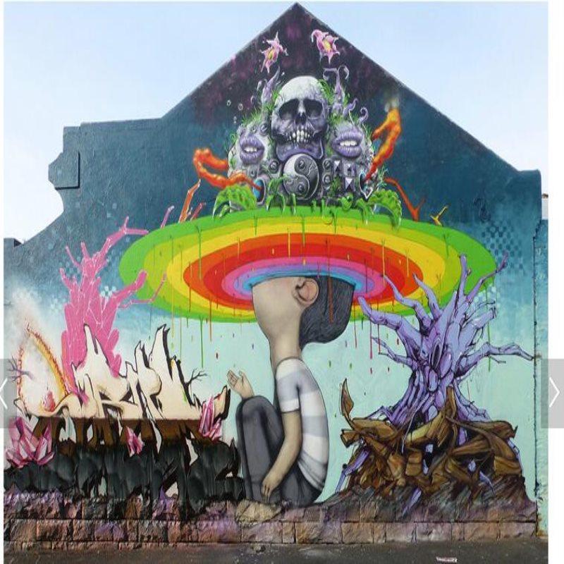 Modern large custom mural wallpaper old brick wall abstract street graffiti wallpaper individual ...