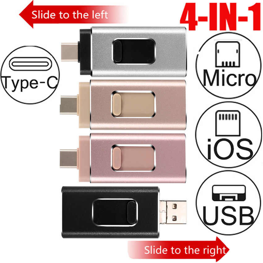 USB Flash Drive 64GB 128GB Pena untuk iPhone/Android/PC/Tipe-C 4 di 1 MICRO USB 3.0 32GB 256GB OTG Flashdisk Flash Drive
